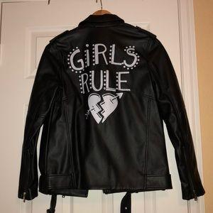 Zara Girls Rule Faux Leather Jacket